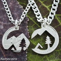 Native American Mountain necklaces, interlocking hand cut half dollar