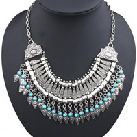 Silvery Tassels Bib Necklace