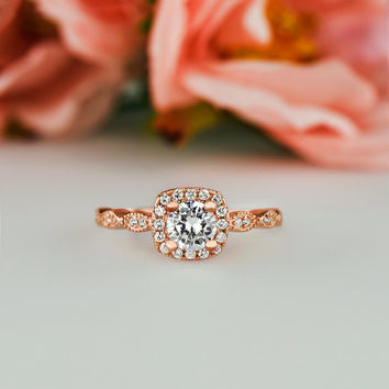 3/4 ctw, Halo Promise Ring, Vintage Inspired Art Deco Ring, Man Made Diamond Simulants, Engagement Ring, Sterling Silver, Rose Gold Plated