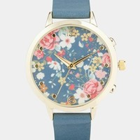 New Look Blue Floral Watch