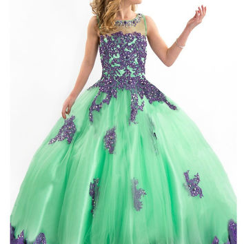 Beaded Tulle Purple Applique Embroidery Girls Glitz Crystal Dresses Little Girls Gown Gorgeous Pageant dresses for 12 year olds