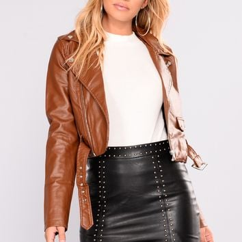 Remind Me Later Faux Leather Jacket - Camel