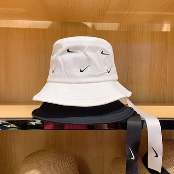 """Nike"" Unisex Sport Vintage Logo Embroidery Webbing Fisherman Hat Bucket Hat Couple Casual Sun Cap"