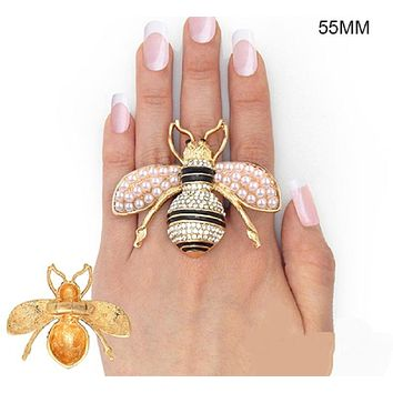 "2"" X 2.50"" huge gold crystal pearl bee stretch cocktail ring"