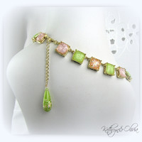 Confetti Glitter Cube Necklace with drop earrings...peach green lavender glass cubes with confetti glitter 8-13