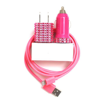 Glitz & Glam Pink iPhone Charger iPhone accessories | cord, cable | portable,mobile car charger | for iPhone 6 | 6s | iPhone 5 | 5s | 5c