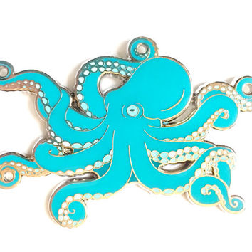 Octopus enamel pin (hard enamel pin lapel pin badge enamel cute octopus jewelry cephalopod octopus jewelry cloisonne backpack pin)