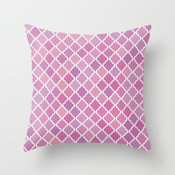 Pink Purple Moroccan Print Pattern Throw Pillow, Pink Throw Pillow, Purple Decorative Pillow, Pink Bedroom Decor, Pretty Pink Accent Pillow