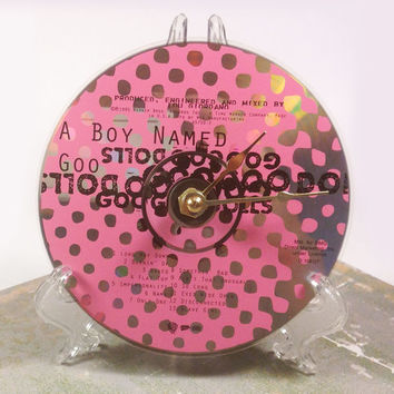 CD Clock, Desk Clock, Wall Clock, Goo Goo Dolls, Recycled Music Compact Disc, Upcycle, Battery, Wall Hanger & Stand ALL INCLUDED