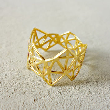 Geometric Diamond Ring, Geometric ring, signature ring, Architectural jewelry