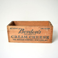 Vintage Cheese Box - Borden's Cream Cheese - Dovetailed Wood Box