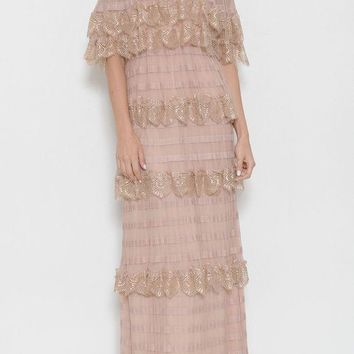 'isabella' off the shoulder tiered lace dress
