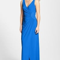 Women's Laundry by Shelli Segal Embellished Ruched Jersey Gown,