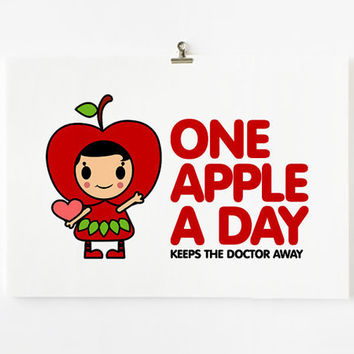Kitchen art poster Children Decor One apple a day by loopzart