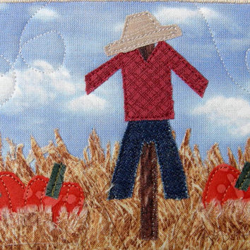 Quilted Fabric Postcard, Scarecrow, Halloween, Pumpkins, Thanksgiving, Fall, Autumn, Landscape Art, Quilted Art, Fabric Art,