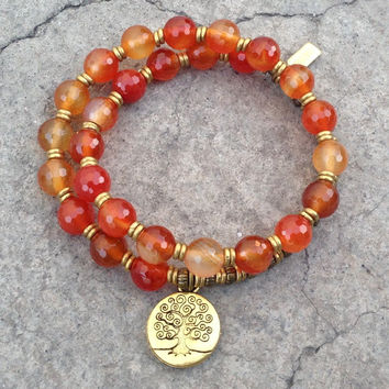 Stability and Motivation, faceted carnelian 27 bead mala wrap bracelet with Tree of life charm™
