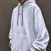 NIKE Fashion New Bust Embroidery Hook And Back Letter Print Men Hooded Long Sleeve Sweater Top White