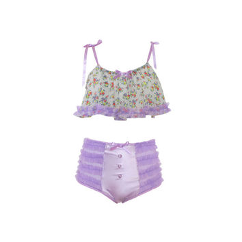 Floral Ruffle Crop Top with Satin Ribbon Ties and Matching Lilac High Waisted Ruffle Knickers