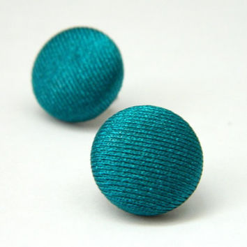 Button Earrings Turquoise Shiny Simple Classic by PushTheButtons