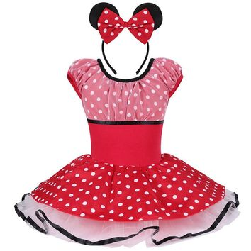 Kid Girls Mickey Minnie Mouse Polka Dots Short Sleeve Ballet Dress Leotards / GymnasticTutu Dress Cosplay Costume for  2~8Years
