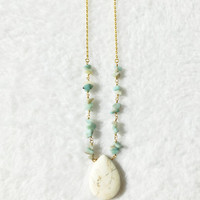 Gemstone Necklace, Amazonite Necklace, Teal, Turquoise, Gold, Stone Chip Rosary Necklace, White Howlite Teardrop Necklace