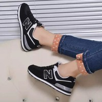 new balance fashion casual all match n words breathable couple sneakers shoes black