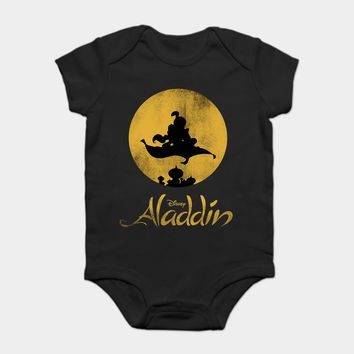 Baby Onesuit Baby Bodysuits kid t shirt Funny novelty Aladdin Magic Carpet Silhouette Graphic