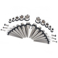 32Pcs Stainless Steel Acrylic 14G-00G Tapers & Plugs Ear Gauges Expander Stretching Kit