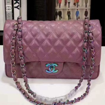 """Chanel"" women shopping shoulder bag female inclined shoulder bag purple G-3A-XNRSSNB"