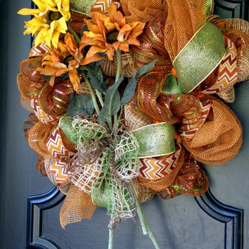 ON SALE Sunflower Wreath Summer Burlap Mesh Sunflower Wreath Front Door Wreath Indian Summer Sunflower Decor Deco Mesh Sunflower Wreath