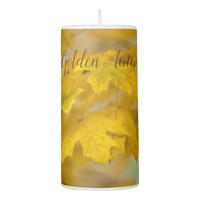 Yellow autumn maple leaves. Add you text or name. Pillar Candle