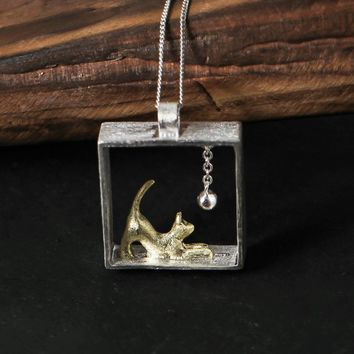 Exclusive Art Sterling Silver Handmade Cat Playing Ball Pendant