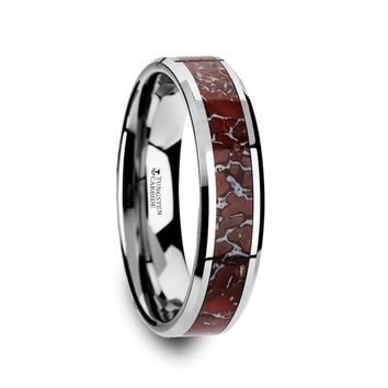 Red Dinosaur Bone Inlay Tungsten Anniversary Ring