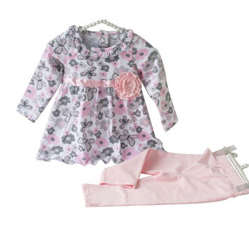 Baby Girl Toddler Cute Butterfly Print 2pcs Outfit Set