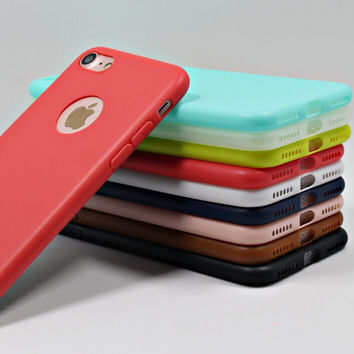 Solid Candy Color Matte Skin Case for iPhone 7 TPU Soft Back Cover for Apple iPhone 7plus New Upgraded Phone Case