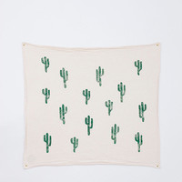 Block printed tea towel - unbleached flour sack cotton - green - cactus