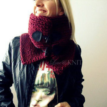 Hold Me Neckwarmer Burgundy by LoveandKnit on Etsy