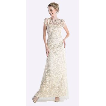 Semi Formal Long Lace Cream Dress Tea Length Short Sleeve