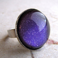 Grape Sparkle Shimmer Ring in Silver by AshleySpatula on Etsy