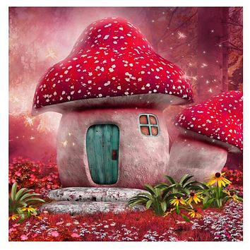 5D Diamond Painting Red Top Mushroom House Kit