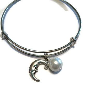 Moon Charm Bracelet - Crescent Moon Bangle - Moon and Pearl Adjustable Bangle - Alex and Ani Inspired - Silver Jewelry - Stacking Bangles
