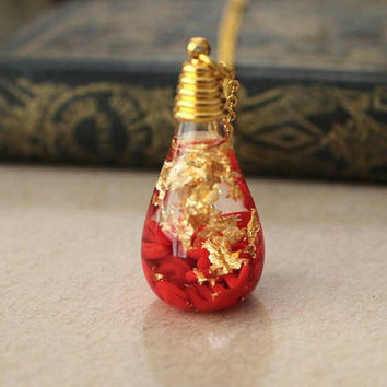 "Blood Cells & Gold Leaf Liquid Bottle Charm Vial Necklace 20"" Gold Filled chain"