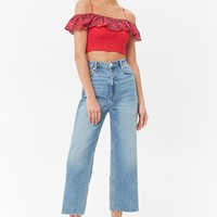 Smocked Eyelet Crop Top