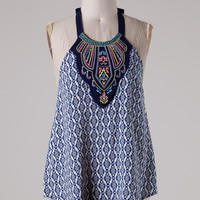 Embroidered Halter - Navy