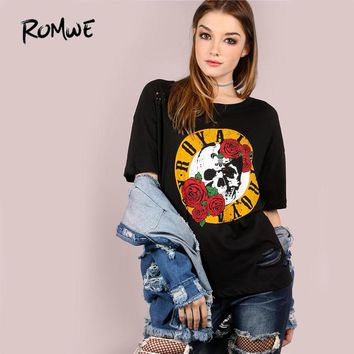 Burn Out Royalty Graphic Tee Shirt Black Round Neck Long Sleeve Pullovers Women Floral T Shirt