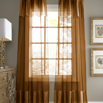 Silk window curtain panel Copper