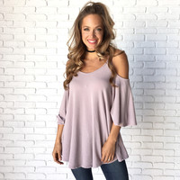 Gratitude Open Shoulder Tunic Blouse In Lilac