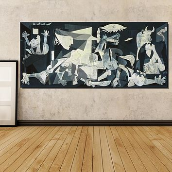 Spain France Picasso Guernica 1937 Germany Figure Painting Abstract drawing Spray Oil Painting Frameless Home decor Canvas