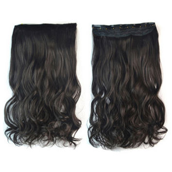 Thick Hair Extension Long Curled Hair 5 Cards Wig black brown