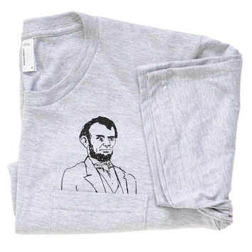 Mens Pocket Abe Tee - Screen Printed / Grey / American Apparel / Abraham Lincoln